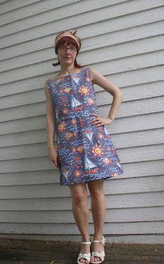 Vintage 60s Mosaic Sailboat Dress Sea Sleeveless by soulrust, $49.99