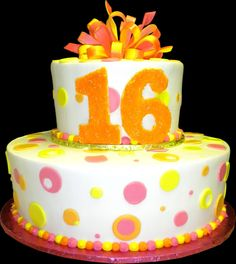 "Sweet 16 Orange Hot Pink Polka Dot, White or Chocolate, 2 or 3 Tier 8"" or 10"""