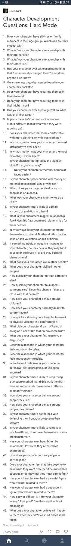 Amazing tips and tricks for character development. These are not my own list
