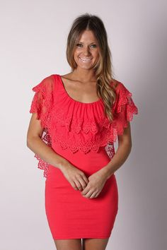 whisper to me lace dress- coral