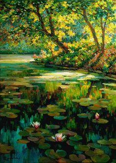 Overgrown pond by Sergey Volkov Fantasy Art Landscapes, Landscape Art, Landscape Paintings, Lake Pictures, Water Art, Watercolor Paintings, Painting Abstract, Portrait Paintings, Acrylic Paintings