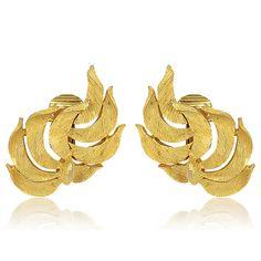 1960S Vintage Kramer Gold Swirl Earrings