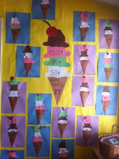 Everyone loves ice cream! This is a good activity to create together as a class that can be displayed in the classroom as a visual and reference for all students. Each cone made by the students can be a different word family. Literacy Stations, Kindergarten Reading, Literacy Activities, Beginning Reading, First Grade Reading, Spelling Games For Kids, Word Family Activities, Phonics Words, Making Words