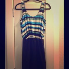*Zara* Blue Striped Mini Dress, Size S Zara striped mini dress, size small. Purchased at Zara in San Francisco. Good condition. 68% viscose, 31% polyamide, 1% elastase. Machine wash gentle cycle. Zara Dresses Mini
