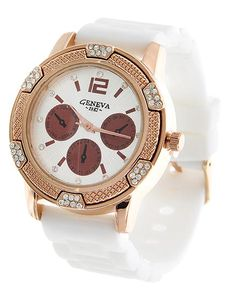 Rose Gold Tone / White Rubber / Clear Rhinestone / Stainless Steel Back / Buckle Closure Watch