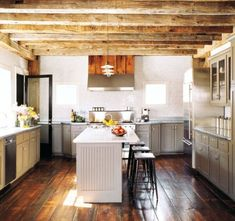 Modern, rustic, barn, wide plank floor and exposed beams Timber Kitchen, Barn Kitchen, Kitchen Grey, Country Kitchen, Kitchen Floors, Kitchen Cabinets, Craftsman Kitchen, Kitchen Modern, Wooden Kitchen