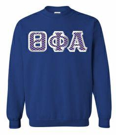 $30 Theta Phi Alpha Custom Twill Sweatshirt. Choose your own twill from hundreds of patterns! #greekgear #sororitycrewneck