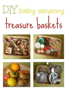 Great ideas for DIY baby/toddler sensory treasure baskets you can put together in minutes, using things you have around the home. Montessori Baby, Montessori Activities, Baby Room Activities, Infant Activities, Activities For Kids, Baby Sensory Play, Baby Play, Baby Toys, Baby Treasure Basket