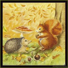 Paper Decoupage Napkins Scrapbooking Paper Hedgehog and Squirrel Mixed Media Altered Art Tissue Napkins on Etsy, $4.50