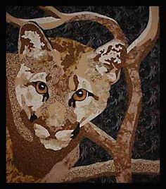 Cougar art quilt by Wind Gypsy Designs
