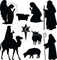 Shepherd And Sheep Silhouette Christmas nativity silhouettes stock vector art 14023288 - istock Noel Christmas, Christmas Projects, Simple Christmas, All Things Christmas, Holiday Crafts, Christmas Ornaments, Felt Ornaments, Vector Christmas, Christmas Nativity Scene