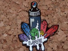 Love Crystal - LSD - Acid - Vial - Liquid - Trippy - Psychedelic - Grateful Dead - Steal Your Face - Drugs - HIppie - Hat Pins - Festival