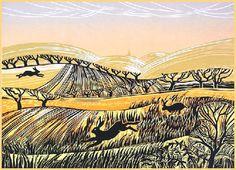Three Hares Chasing, Rob Barnes Norton Way Gallery Hertfordshire Landscape Prints, Landscape Art, Lino Prints, Art Prints, Linoleum Block, Collagraph, Scratchboard, Gcse Art, Etchings