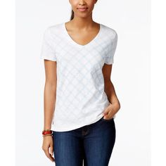 Tommy Hilfiger Short-Sleeve Lattice-Print Tee ($25) ❤ liked on Polyvore featuring tops, t-shirts, classic white, white tee, short sleeve t shirt, short sleeve tee, short sleeve tops and print tee