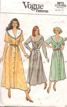I love the collar of this vintage Vogue sewing pattern. Perhaps a full skirt and sleeveless would look beautiful
