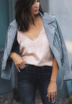 beautiful outfit / grey biker jacket + lace silk top + jeans