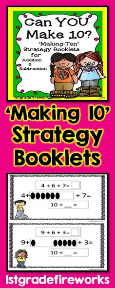 Can YOU make 10? Strategy booklets to help practice the MAKING 10 Strategy.Addition AND Subtraction BOOKLETS (2 per page ) Color & B/W Math Booklets for students to practice the MAKING TEN STRATEGY Instructional Posters for Addition & Subtraction provided. Kidlette Themed