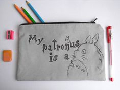 My patronus is a Totoro Back to school Student gifts Miyazaki My neighbor Totoro gifts Funny pencil case Harry Potter school supplies gifts Harry Potter School, My Neighbor Totoro, Student Gifts, Everyday Objects, Miyazaki, Runes, School Bags, School Supplies, Back To School