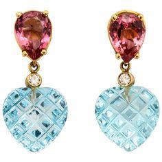 Charming Pink Tourmaline Blue Topaz Heart Earrings | From a unique collection of vintage dangle earrings at https://www.1stdibs.com/jewelry/earrings/dangle-earrings/