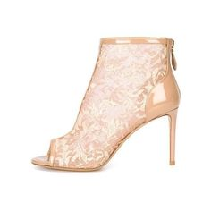 Pre-Owned Floral Lace Booties ($1,350) ❤ liked on Polyvore featuring shoes, boots, ankle booties, neutral, winter boots, stiletto booties, peep toe platform booties, high heel boots and high heel platform boots