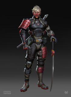 Commander design for the game—Survival tactics, xu wang on ArtStation at https://www.artstation.com/artwork/mevE1