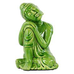 Urban Trends Ceramic Head on Right Knee Buddha Sculpture - 22146