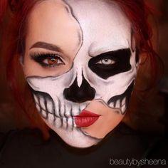 Halloween – Make-up Schminke und Co. Halloween – Make-up Schminke und Co. Half Face Halloween Makeup, Visage Halloween, Amazing Halloween Makeup, Halloween Eyes, Halloween Makeup Looks, Halloween Skeleton Makeup, Makeup Clown, Scary Makeup, Face Makeup