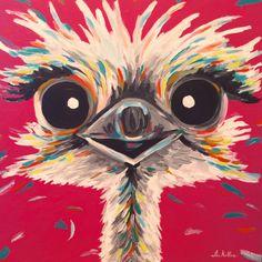 Canvas Ostrich art print from original canvas by HippieHoundUSA