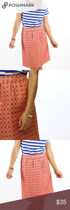 Halogen || Red Jacquard Diamond Print Skirt Shop for a cause! All proceeds from the sale of this item are being donated to a non-profit organization that supports and rehabilitates women caught in sex trafficking. To learn more check out www.wipeeverytear.org.  Halogen Red and coral print jacquard a-line skirt. Box pleated at the waist. Hidden back zipper. Knee length. Fits true to size. Great condition. Halogen Skirts A-Line or Full