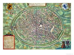 Town Plan of Bruges, from Civitates Orbis Terrarum by Georg Braun and Frans Hogenburg, circa 1572 Giclee Print by Joris Hoefnagel at AllPosters.com. 24x18 $50