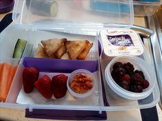 Vegetable samosas with filo pastry, carrot and cucumber sticks, hummus, strawberries, frozen berries and yogurt.