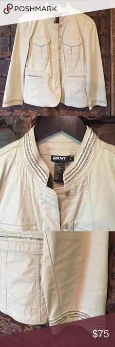 3/4 Sleeve DKNY Jacket Cotton and spandex jacket by DKNY. Sleeves are 3/4 in length. Bead detail on sleeves and neckline. Great used condition. Light tan color. DKNY Jackets & Coats