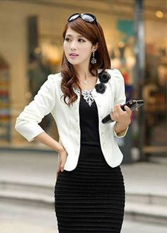 Pretty Flowers Decoration Collarless Fitted Coat White Cotton | martofchina.com
