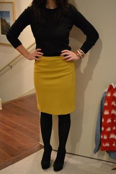 winter chic. love the yellow pencil skirt and black turtleneck with black tights and black shoes