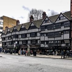 Row of Tudor buildings by London's Chancery Lane tube station.