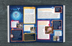 For 8 issues, I created fun pages for Whizz Pop Bang magazine for kids aged 6-11 years: News, Interview, Quiz, How Stuff Works, a centre Pull-out with double-sided cut-outs and the Letters spread which I revamped in the style of robot Y's inner workings. I brought fresh thinking, design evolution, attention to detail, artworking files to press and an ability to juggle three issues simultaneously.  www.whizzpopbang.com  Illustrations: Clive Goodyer. Illustration for How Stuff Works: Dan Green Web Design, Logo Design, Graphic Design, Dan Green, Student Awards, Magazines For Kids, Freelance Designer, Magazine Design, Cut Outs