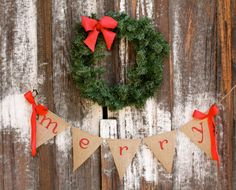 merry burlap banner - Christmas burlap banner - holiday home decor - christmas garland.