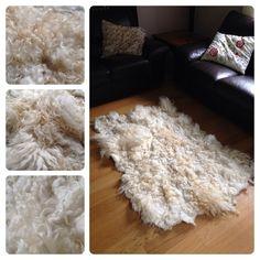 Felted rug from raw locks.