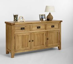 Elegance Solid Oak Sideboard / Buffet (Buffet Only) (Sizes Small , Medium) - - Sideboard - Ametis - Space & Shape - 4 Solid Oak Sideboard, Sideboard Buffet, Kitchen Furniture, Home Furniture, Lounge Furniture, Kitchen Dining, Dining Room, Tongue And Groove Panelling, Create Your House
