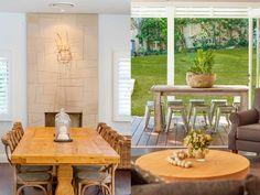 North Avalon Beach House by Stritt Design and Construction Hamptons Style Homes, The Hamptons, Dark Timber Flooring, Avalon Beach, Furniture Decor, Beach House, Dining Table, Interior, Sydney