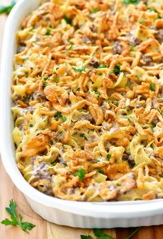 French Onion Beef Casserole - major tweaking but should still be easy. Substitute cream of crap and French onion dip for whole mushrooms boiled in beef broth and french onion soup mix then use cream cheese or heavy cream Onion Casserole, Beef Casserole Recipes, Casserole Dishes, Hamburger Casserole, Ground Beef Noodle Casserole, Hamburger Meat Recipes, Egg Noodle Casserole, Hotdish Recipes, Casserole Ideas