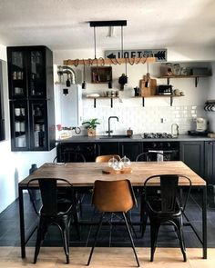 - Furniture for Kitchen - If you're looking for contemporary kitchen-diner ideas, get inspired by these . If you're looking for contemporary kitchen-diner ideas, get inspired by these images of . Industrial Kitchen Design, Industrial House, Interior Design Kitchen, Rustic Kitchen, Modern Interior, Industrial Pipe, Rustic Industrial Kitchens, Vintage Industrial Bedroom, Flat Interior Design