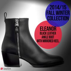 Ballin Black Leather Ankle Boots, Winter Collection, Hunter Boots, Rubber Rain Boots, Fall Winter, Heels, Fashion, Heel, Moda