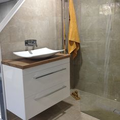 INDIE wall hung drwaer unit with solid reclaimed Australian timber top and white VERSUS MK II sit on basin