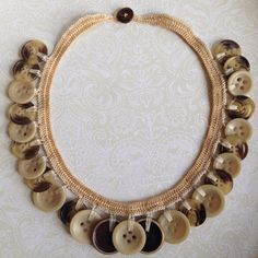 #necklace #jewelry #buttons #crochet #art #craft #crochet #handmade #handcrafted #creative #modern #material #thin #thread #designed by Mari M.