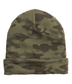 aece1930105 Double-knit beanie in khaki green camouflage.│ H M Divided Guys H M Men