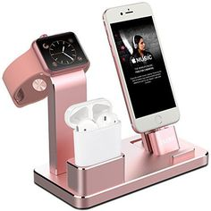 OLEBR Apple Watch Stand Aluminum Apple Watch Charging Stand AirPods Stand Charging Docks Holder for Apple Watch Series 3/2/1/ AirPods/ iPhone X/8/8Plus/7/7 Plus /6S /6S Plus/ iPad -Rose Gold Read more at SMART News : http://www.newtabapps.com/?p=22793 Apple Watch, AirPods and iPhone Stand Product Features 【4 in 1 APPLE WATCH STAND】 Works as an iWatch Stand, AirPods Stand, iPhone Holder, steadily holds your Apple Watch. 45° angel supports Nightstand Mode. Specially de