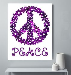 Peace Sign Printable, Flowered Peace Sign, Tween Room Decor, Teen Room Decor, Purple Peace Poster, Kids Room Decor, Play Room Art by StudioGlindda on Etsy