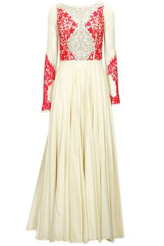 Ivory and fuchsia embroidered anarkali set by Varun Bahl. Shop now: http://www.perniaspopupshop.com/designers/varun-bahl #perniaspopupshop #varunbahl #anarkali #shopnow