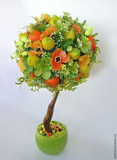 Купить Топиарий Сочное Лето - зеленый, желтый, оранжевый, топиарий, топиарий своими руками
